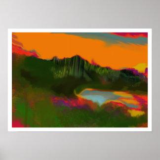 paisagem do abstrato do por do sol do verão pôster