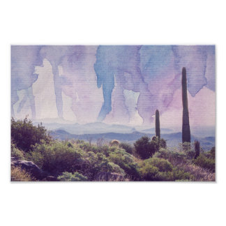 Paisagem do deserto - poster do céu   da aguarela