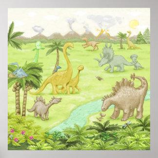 Paisagem do dinossauro poster