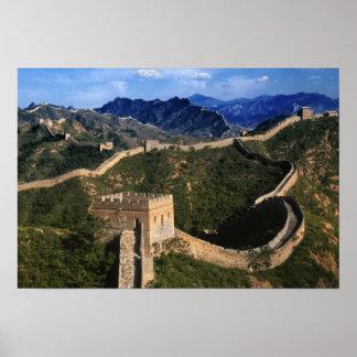 Paisagem do Grande Muralha, Jinshanling, China Pôsteres
