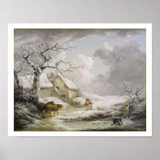 Paisagem do inverno com os homens que Snowballing  Posters