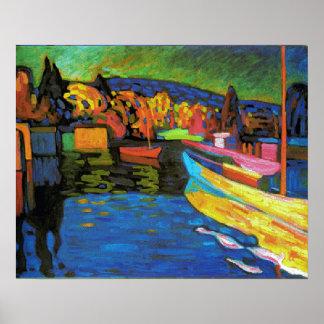 Paisagem do outono com barcos poster
