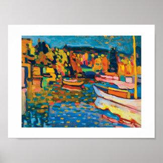 Paisagem do outono com os barcos por Wassily Poster