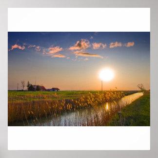 paisagem do por do sol impressão