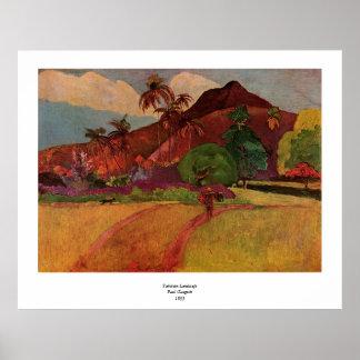 Paisagem do Tahitian de Paul Gauguin (1893) Poster