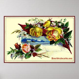 Paisagem do Victorian com rosas Pôster
