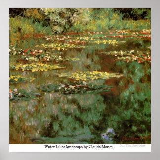 Paisagem dos lírios de água por Claude Monet Posters