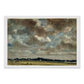 Paisagem extensiva com nuvens cinzentas, c.1821 (ó poster