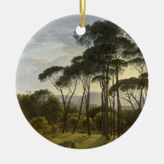 Paisagem italiana com pintura a óleo dos pinhos de ornamento de cerâmica redondo