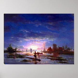 Paisagem - luar - pesca da noite poster