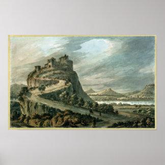 Paisagem rochosa com castelo posteres