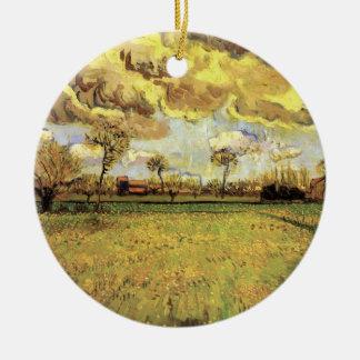Paisagem sob o céu tormentoso, belas artes de Van Ornamento De Cerâmica Redondo
