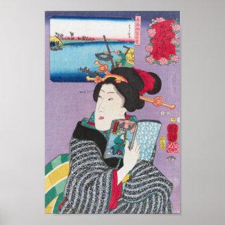 Paisagens e belezas por Hiroshige Poster