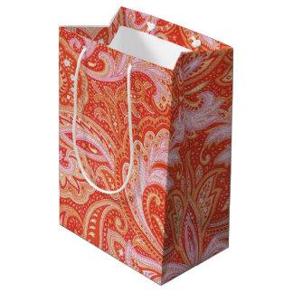 Paisley alaranjado sacola para presentes média