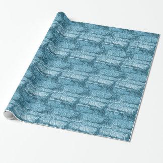 Paisley azul papel de presente