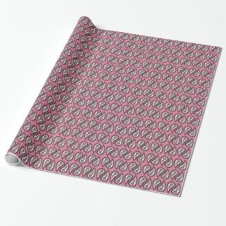 Paisley cor-de-rosa moderno papel de presente