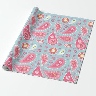 Paisley cor-de-rosa na turquesa clara papel de presente