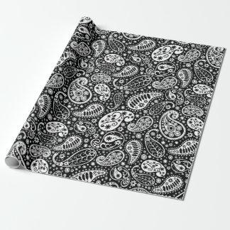 Paisley preto & branco floral papel de presente