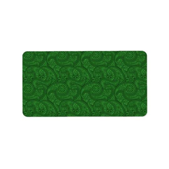 Paisley verde etiqueta de endereço