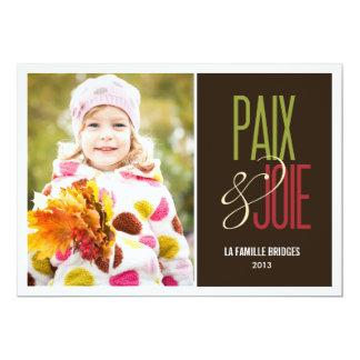 Paix et joie cartes de photo de vacances convite 12.7 x 17.78cm