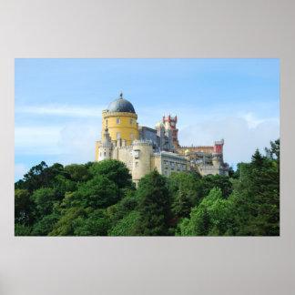 Palácio colorido da opinião da paisagem de Pena em Pôster
