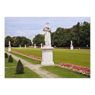 Palácio cor-de-rosa jardim sculptured com flores convite 12.7 x 17.78cm