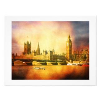 Palácio e ponte de Westminster com Big Ben Convites Personalizado
