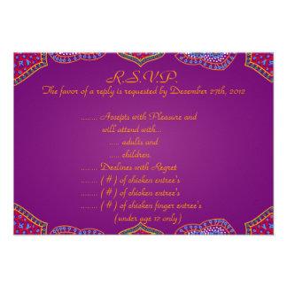 palácio roxo India do cartão de resposta de 3.5x5  Convite Personalizado