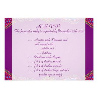 palácio roxo India do cartão de resposta de 3.5x5  Convites
