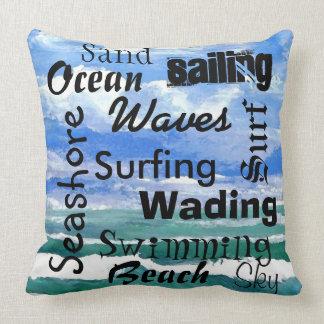 Palavras da navigação do litoral da praia do travesseiro de decoração