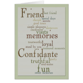 Palavras do cartão da amizade
