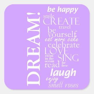 palavras inspiradas inspiradores - sonho adesivo quadrado