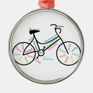 Palavras inspiradores para fãs de esportes Biking Ornamento Redondo Cor Prata