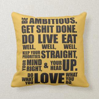 Palavras inspiradores - seja ambicioso travesseiro de decoração