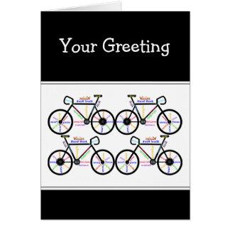 Palavras inspiradores sobre Biking da montanha de  Cartão Comemorativo