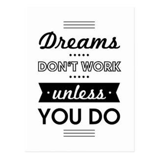 Palavras inspiradores sobre sonhos e trabalho cartão postal