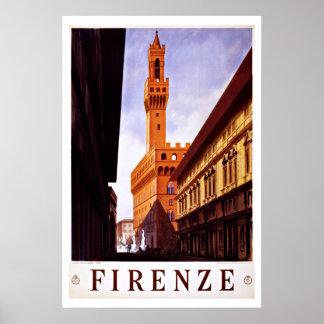 Palazzo Vecchio, viagens vintage de Florença, Poster