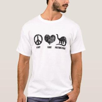 Paleontologia do amor da paz camisetas