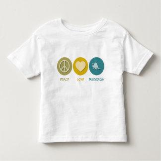 Paleontologia do amor da paz t-shirt