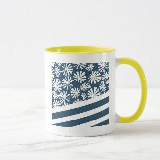 Palma de fã: Azul e branco Caneca