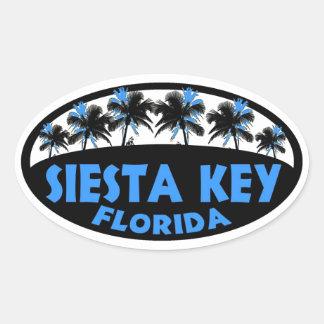 Palmas chaves do preto azul de Florida do Siesta Adesivos Em Formato Ovais