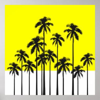 Palmeiras amarelas do verão colorido & tropicais pôster