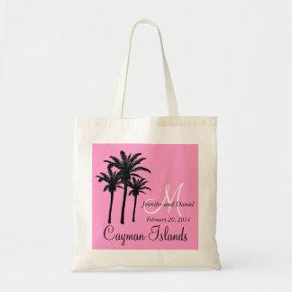 Palmeiras cor-de-rosa das sacolas do casamento de  sacola tote budget