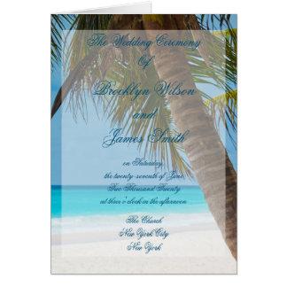 Palmeiras em programas da cerimónia de casamento cartão