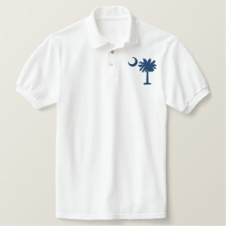Palmetto azul camisa bordada camiseta bordada polo