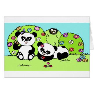 panda and butterfly cartões