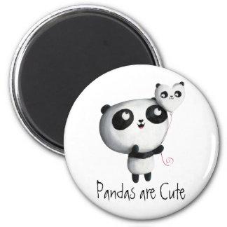 Panda bonito com balão ímã redondo 5.08cm