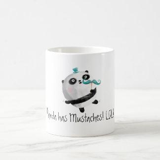Panda com bigodes caneca de café