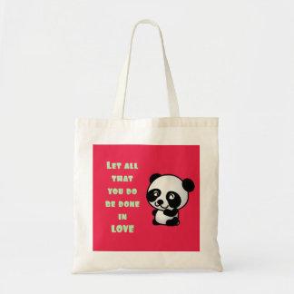 Panda com citações inspiradas do amor bolsas