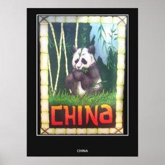 Panda de China do poster das viagens vintage